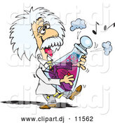 Vector Clipart of a Scientist Albert Einstein Playing a Musical Flask by Dennis Holmes Designs