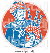 Vector Clipart of a Scottish Bagpiper over a Red Circle by Patrimonio