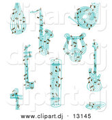 March 10th, 2016: Vector Clipart of a Seamless Background of Blue Musical Instruments and Notes by Cherie Reve