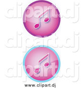 Vector Clipart of a Set of Two Purple Music Icon Buttons with Music Notes by YUHAIZAN YUNUS