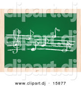 Vector Clipart of a Sheet Music Written on Chalk Board with Wood Border Frame by Andrei Marincas