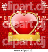 September 19th, 2014: Vector Clipart of a Shiny Red Heart Attached to a Gold Banner over a Red Disco Ball Background by Elaineitalia