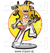 Vector Clipart of a Shirtless Blond Rocker Musician, Playing a Guitar by Andy Nortnik