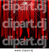 Vector Clipart of a Silhouetted Crowd Applauding a Female Performing Artist on a Stage Under a Red Disco Ball by Elaineitalia