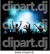 Vector Clipart of a Silhouetted Crowd Dancing over Blue Stage Lighting by KJ Pargeter