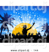 Vector Clipart of a Silhouetted Crowd Dancing to DJ Playing Music in Front of a Golden Disco Ball at Night with Palm Trees by Elaineitalia