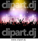 Vector Clipart of a Silhouetted Crowd Holding Their Arms up Under Sparkly Lights with Black Copyspace by KJ Pargeter