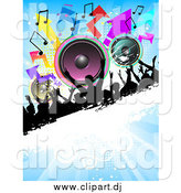 Vector Clipart of a Silhouetted Crowd on a Grunge Bar with Colorful Speakers, Arrows and Music Notes on a Blue Background by KJ Pargeter