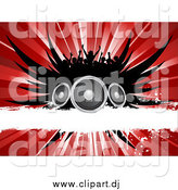 Vector Clipart of a Silhouetted Crowd over Black Wings, Speakers, a White Grunge Bar and a Red Burst by KJ Pargeter