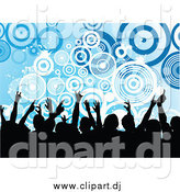 Vector Clipart of a Silhouetted Crowd over Grungy Blue Circles by KJ Pargeter