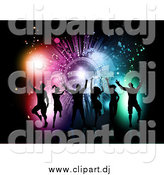 Vector Clipart of a Silhouetted Dance Group Against a Grungy Colorful Burst on Black by KJ Pargeter