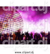 Vector Clipart of a Silhouetted Dancers and a 3d Disco Ball over Purple by Elaineitalia