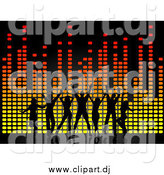Vector Clipart of a Silhouetted Dancers over Colorful Equalizer Lines by KJ Pargeter