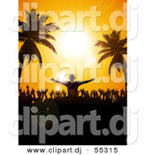 Vector Clipart of a Silhouetted Disk Jockey and Partygoers Against a Tropical Beach Sunset Sky with Palm Trees by Elaine Barker