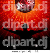 Vector Clipart of a Silhouetted Disk Jockey Standing Below a Disco Ball with Arms out over Red Background by Elaineitalia