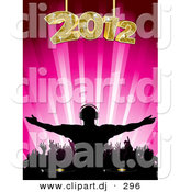 Vector Clipart of a Silhouetted Dj at 2012 Party on Pink Background by Elaineitalia