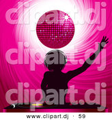 Vector Clipart of a Silhouetted Dj Girl Mixing Records Under a Pink Disco Ball by Elaineitalia