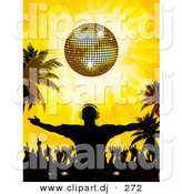 Vector Clipart of a Silhouetted Dj Guy Standing with Crowd of Dancers Under a Golden Disco Ball on a Tropical Beach by Elaineitalia