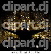 Vector Clipart of a Silhouetted Dj over Gold Mosaic Background with Party People by Elaineitalia