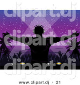 Vector Clipart of a Silhouetted Dj Playing Music at a Night Beach Party by Elaineitalia