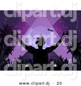 Vector Clipart of a Silhouetted Dj Playing Music at a Tropical Beach Party at Night by Elaineitalia