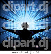 Vector Clipart of a Silhouetted Dj Wearing Headphones While Standing out from a Crowd of Dancers by Elaineitalia