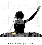 Vector Clipart of a Silhouetted Female DJ Mixing a Record on a Turntable While Dancing with Headphones on by Elaineitalia