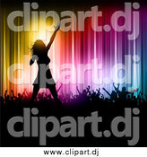 Vector Clipart of a Silhouetted Female Pop Singer on Stage with Fans Against Colorful Lights by KJ Pargeter