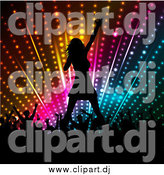 September 23rd, 2014: Vector Clipart of a Silhouetted Female Singer and Crowd of Fans Against Colorful Lights by KJ Pargeter
