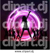 Vector Clipart of a Silhouetted Female Singer and Dancers on Stage at a Concert over Neon Lights by KJ Pargeter