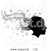 Vector Clipart of a Silhouetted Girl's Head with Music Sheet Signs Forming Her Hair by AtStockIllustration