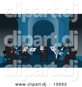 Vector Clipart of a Silhouetted Group Band of People Playing Violins Violas Cello and a Trumpet in Tones of Blues by David Rey