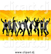 October 9th, 2014: Vector Clipart of a Silhouetted Group of Dancers Against Orange Rays and Music Notes by KJ Pargeter