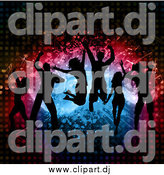 Vector Clipart of a Silhouetted Group of Dancers Jumping over Splatters Notes and Halftone by KJ Pargeter