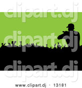 February 19th, 2016: Vector Clipart of a Silhouetted Male Singer over a Crowd on Green by Michaeltravers