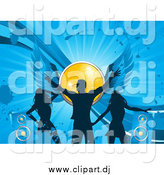 Vector Clipart of a Silhouetted Man and Ladies Dancing on a Blue Grunge Background with Speakers and a Winged Yellow Disco Ball by Elaineitalia