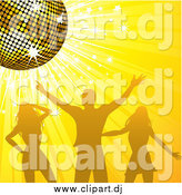 Vector Clipart of a Silhouetted Man and Two Women Dancing Under a Gold Disco Ball on a Sparkling Yellow Background by Elaineitalia