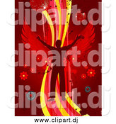 Vector Clipart of a Silhouetted Man with Wings, Dancing on a Wave over a Red Background with Splatters, Speakers, Flowers and Disco Balls by Elaineitalia