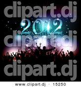 Vector Clipart of a Silhouetted New Year's Eve Party Under 2012 Text by KJ Pargeter