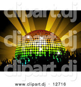 Vector Clipart of a Silhouetted Party Crowd Dancing by a Rainbow Disco Ball Under Orange Lights by Elaineitalia