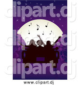 Vector Clipart of a Silhouetted People Listening to Tunes and Looking at the Moon in a Convertible Car by Inkgraphics