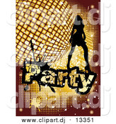 Vector Clipart of a Silhouetted Woman Dancing over a Golden Disco Party Background by MilsiArt