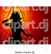 Vector Clipart of a Silhouetted Woman Wearing Headphones and Dancing over a Red Background with Sparkles and Ribbons by KJ Pargeter