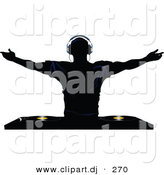 Vector Clipart of a Silhouetted Young Man Holding His Arm out Above Dual Record Mixer by Elaineitalia