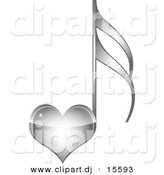 Vector Clipart of a Silver Love Heart Music Note by Andrei Marincas