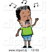 Vector Clipart of a Singing Cartoon Black Boy with Music Notes Floating Above His Head by Cory Thoman