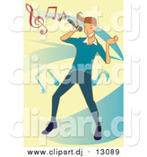 March 7th, 2016: Vector Clipart of a Singing Guy over Blue and Yellow by Mayawizard101