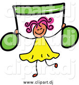 April 29th, 2015: Vector Clipart of a Sketched Girl Holding up a Green Music Note by Prawny