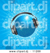 Vector Clipart of a Sparkling 3d Blue Disco Ball Wearing Headphones, over a Sparkling Blue Grunge Background by Elaineitalia