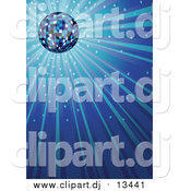 Vector Clipart of a Sparkling Blue Disco Ball Background by Dero